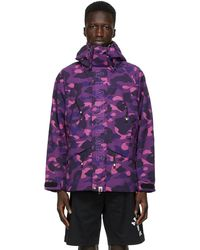 A Bathing Ape Blouson à motif camouflage mauve Snowboard - Violet