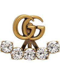 Gucci Boucle d'oreille dorée Crystal Double G - Métallisé