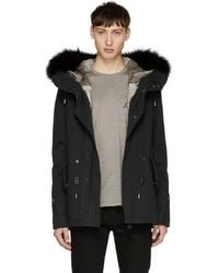 Yves Salomon - Black Short Fur Hooded Parka - Lyst