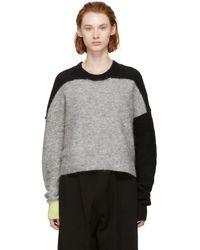 Y's Yohji Yamamoto - Grey Fuzzy Adele Crewneck Sweater - Lyst