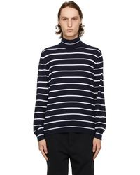 Ralph Lauren Purple Label Pull en jersey de cachemire bleu marine et blanc