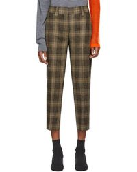 Acne Studios - Brown And Beige Plaid Trousers - Lyst