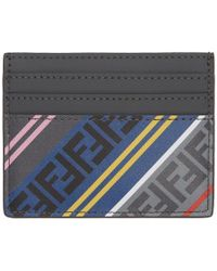 Fendi - Grey Striped Forever Card Holder - Lyst
