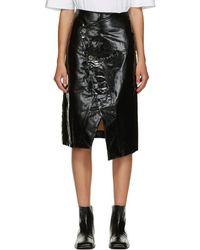 Marni ブラック シャイニー ラップ スカート - ホワイト