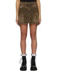 R13 Brown Denim Leopard Miniskirt