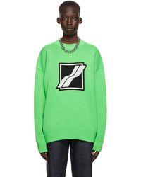 we11done グリーン ロゴ ジャカード セーター