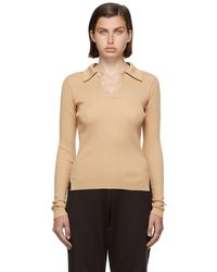 AURALEE Beige Rib Knit Giza Long Sleeve Polo - Natural