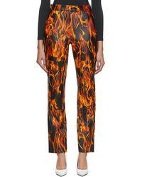 Marine Serre Black Leather Flames Trousers - Orange