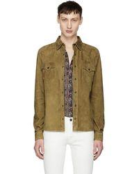Saint Laurent - Brown Suede Shirt Jacket - Lyst