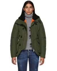 DSquared² - Green Ribbed Collar Puffer Jacket - Lyst