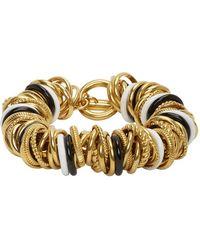 Balenciaga ゴールド And ブラック マルチリング ブレスレット - メタリック