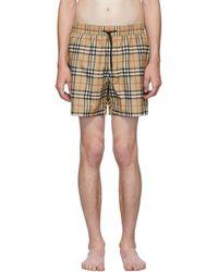 Burberry - Beige Vintage Check Guildes Swim Shorts - Lyst