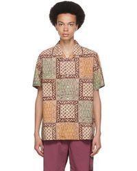 Beams Plus ブラウン ブロック プリント オープン カラー シャツ