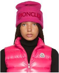 Moncler Pink Logo Wool Beanie