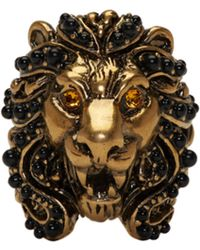 Gucci Bague à deux doigts dorée Tiger - Métallisé