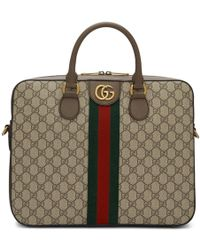 Gucci ブラウン オフィディア GG ブリーフケース - ナチュラル