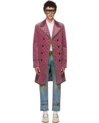 Gucci - Pink Velvet Quilted Coat - Lyst
