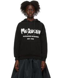 Alexander McQueen Pull à capuche à logo - Noir