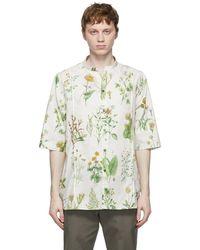 Ferragamo オフホワイト Herbal Print ショート スリーブ シャツ
