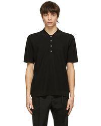 Dunhill ブラック Diagonal Texture ポロシャツ