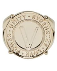 Versace - Gold Infinity Medallion Chevalier Ring - Lyst