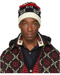 Gucci Navy And Red Knit GG Beanie - Blue