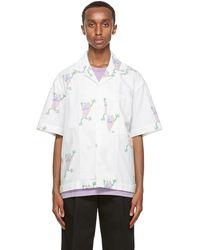 Jacquemus Chemise à manches courtes blanche Flip Flop Print 'La Chemise Jean'