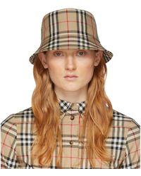 Burberry Beige Check Bucket Hat - Natural