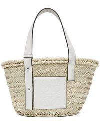 Loewe Cabas beige et blanc Small Basket - Multicolore