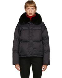 Yves Salomon ブラック フォックス カラー ダウン ジャケット