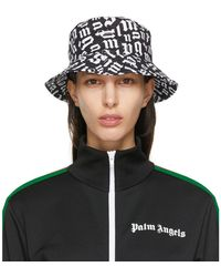 Palm Angels Black And White Monogram Bucket Hat