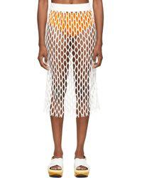 Dries Van Noten ホワイト Fishnet スカート