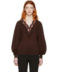 Chloé - Red Wool And Silk Lace V-neck Sweater - Lyst