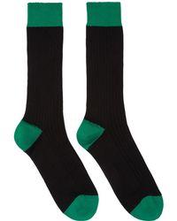 Raf Simons - Black & Green Bicolor Socks - Lyst