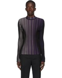 Paco Rabanne Black & Purple Striped Turtleneck