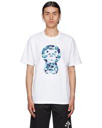 A Bathing Ape White & Blue Abc Camo Big Baby Milo T-shirt