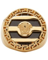 Versace Gold And Black Medusa Ring - Metallic