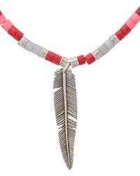 Isabel Marant Silver & Pink Feather Necklace - Metallic