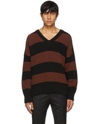BOSS by HUGO BOSS ブラウン & ブラック ストライプ Proti セーター