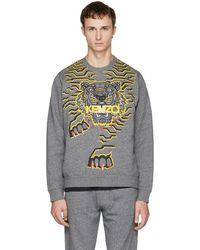 KENZO Grey Geo Tiger Sweatshirt - Gray