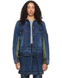Sacai Blue And Khaki Denim Nylon Back Jacket