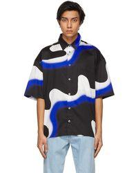 Etudes Studio Blue & Black Smoke Illusion Short Sleeve Shirt