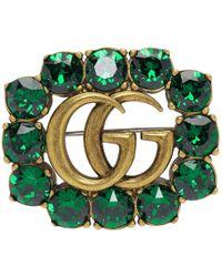 Gucci - Green Crystal Marmont Brooch - Lyst