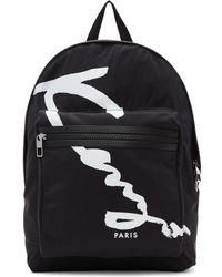 KENZO - Black Signature Logo Backpack - Lyst