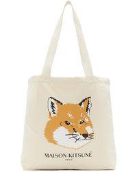 Maison Kitsuné オフホワイト Fox Head トート