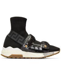 Versace - Black Croc Medusa Sock High-top Sneakers - Lyst