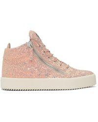 Giuseppe Zanotti | Ssense Exclusive Pink Glitter May London High-top Sneakers | Lyst