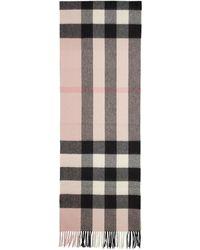 Burberry ピンク カシミア ハーフ メガ チェック スカーフ - マルチカラー