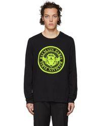 Balmain ブラック メダリオン ロゴ ロング スリーブ T シャツ