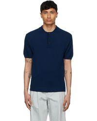King & Tuckfield ネイビー Textured ポロシャツ - ブルー